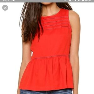 Madewell red 100% silk eyelet peplum top
